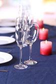 Table setting in restaurant — Stock Photo