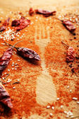 Spices on table with fork silhouette — Stock Photo
