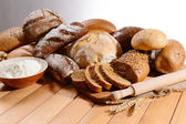 Fresh bread on table — Stock Photo