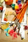 Colorful professional art materials — Stok fotoğraf