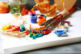 Colorful professional art materials — Stock Photo