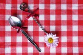 Metal spoons on checkered fabric background — Stock Photo