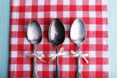 Metal spoons on checkered napkin on light blue background — ストック写真