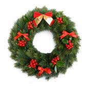 Christmas decorative wreath with leafs of mistletoe isolated on white — Stock Photo
