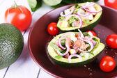 Tasty salad in avocado — Foto Stock
