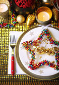 Serving Christmas table — Stock Photo
