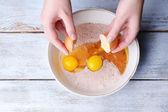 Mixing ingredients in bowl — Stock Photo