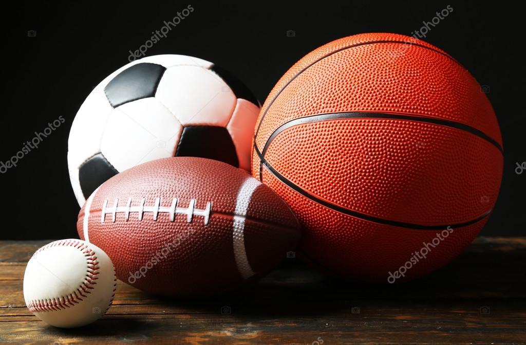 Imágenes Deportes Fondos: Pelotas De Deportes En Fondo Negro