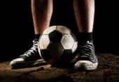 Soccer ball on ground — Stock Photo