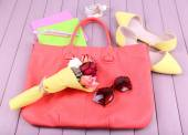 Women bag stuff — Stock Photo