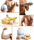 Collage of sportsmen and sport nutrition — Stock Photo
