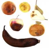 Faulen Früchten isoliert auf weiss — Stockfoto