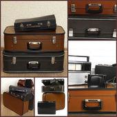 Collage of retro travel suitcases — Stock Photo