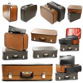 Collage of retro travel suitcases isolated on white — Stock Photo