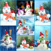 Collage of beautiful snowmen and Christmas decor — Stock Photo