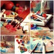 Beautiful still life with professional art materials collage — Stock Photo #60833771