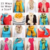 15 ways to tie scarves. Woman wearing scarves — Stock Photo
