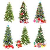 Christmas trees with gifts collage — Stock Photo
