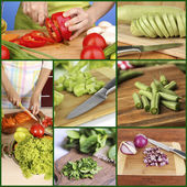 Collage of cutting different vegetables — Foto de Stock