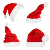 Collage of Santa hats isolated on white — Stockfoto
