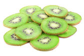 Juicy sliced kiwi isolated on white — Stock Photo