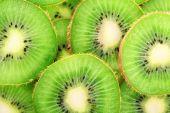 Juicy sliced kiwi close-up background — Stock Photo