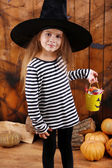 Little girl Witch in hat — Stock Photo