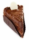 Yummy chocolate cake isolated on white — Fotografia Stock