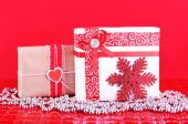 Gifts and Christmas decoration — Stock Photo