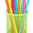 Colorful markers in metal vase — Stock Photo #60874927