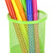 Colorful markers in metal vase — Stock Photo #60874947