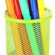 Colorful markers in metal vase — Stock Photo #60874951