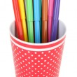 Colorful markers in plastic cup — Stock Photo #60875105