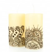 Beautiful candles with mehendi, isolated on white — Stock Photo