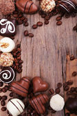 Frame of different chocolates — Stock Photo