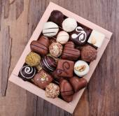 Box filled with chocolates — Stock Photo