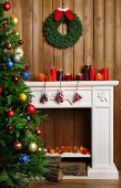 Fireplace with Christmas decorations — Stock Photo