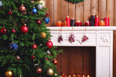 Fireplace with Christmas decorations — Foto de Stock