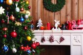 Fireplace with Christmas decorations — Foto Stock