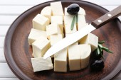 Feta cheese on table — Stock Photo