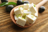 Feta cheese on table close-up — Stock Photo