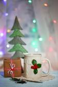 Christmas cup of hot drink — Stockfoto