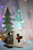 Christmas cup of hot drink — Foto Stock