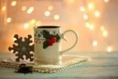 Christmas cup of hot drink — Stock Photo
