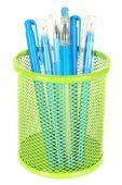 Penne blu in vaso in metallo — Foto Stock