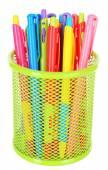 Colorful pens in metal vase — Stock Photo