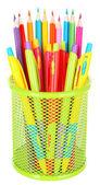 Kleurrijke pennen en potloden in metalen vaas — Stockfoto