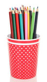 Colorful pencils in plastic cup — Стоковое фото