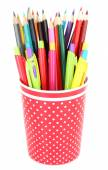 Colorful pens and pencils — Stock Photo