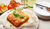 Portion of tasty lasagna — Stock Photo